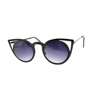 Black Cateye Metal Sunglasses-Women - Accessories - Sunglasses-Look Love Lust