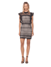 Load image into Gallery viewer, Women's Ruffle Sleeve Lace Shift Dress-Dresses-Look Love Lust