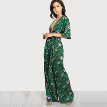 Load image into Gallery viewer, Bell Sleeve Plunge Neck Self Belted Palazzo Jumpsuit Multicolor Half Sleeve Floral Jumpsuit-Look Love Lust