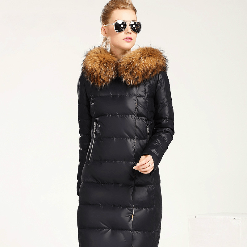 Full Length Puffy Parka Jacket with Natural Fur Collar - Outerwear -  Look Love Lust