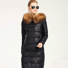 Load image into Gallery viewer, Full Length Puffy Parka Jacket with Natural Fur Collar-Outerwear-Look Love Lust