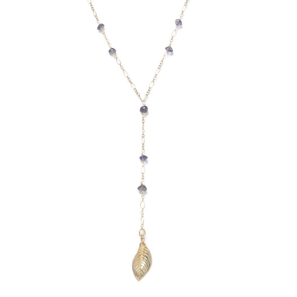 Y-Shaped Iolite Necklace-Women - Jewelry - Necklaces-Look Love Lust