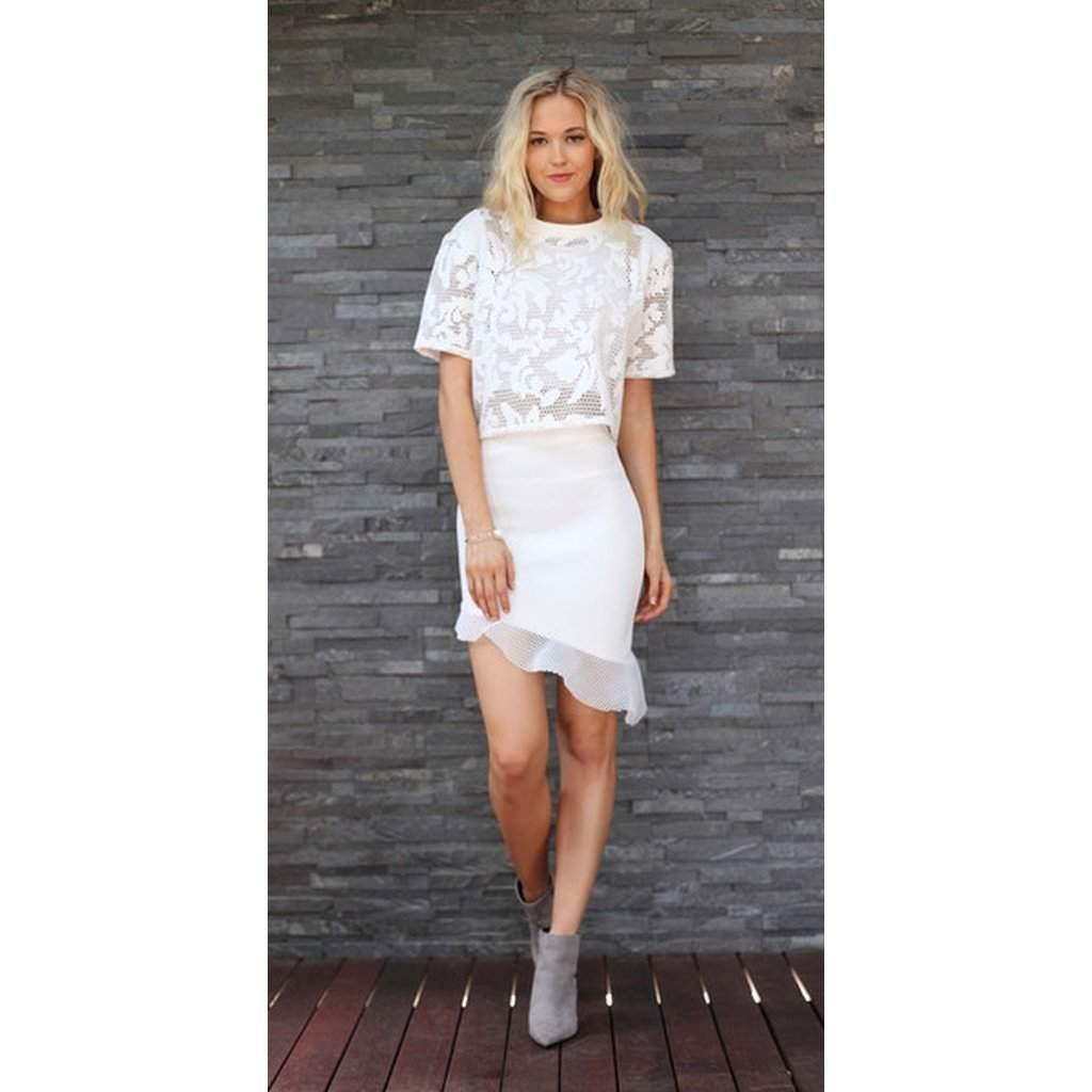 TING-A-LING Asymmetrical Skirt - White-Women - Apparel - Skirts - Mini-Look Love Lust