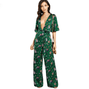 Bell Sleeve Plunge Neck Self Belted Palazzo Jumpsuit Multicolor Half Sleeve Floral Jumpsuit-Look Love Lust
