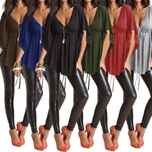 Load image into Gallery viewer, V Neckline Neck Batwing Sleeve Tunic Blouse-Blouses-Look Love Lust