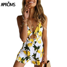 Load image into Gallery viewer, Tropical Fruit Print Tie Up Rompers-Rompers-Look Love Lust