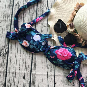 Take Me to The Beach Bow Tie Floral Print Pleated Strapless Swimsuits-Bikinis Set-Look Love Lust