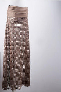 Women Fish Net Cover Up Maxi Skirt-Cover-Ups-Look Love Lust