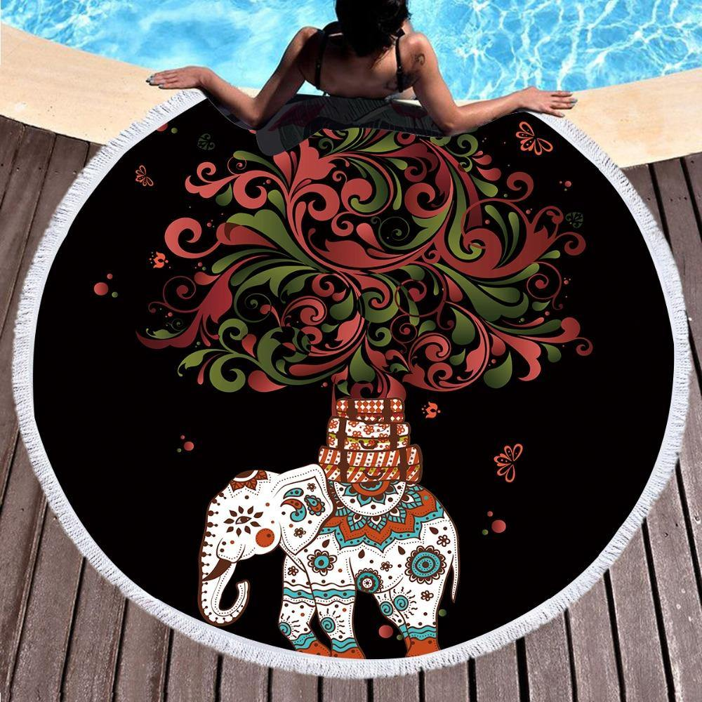 Boho Round Beach Towel with Elephant and Tree Print-Look Love Lust