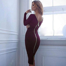 Load image into Gallery viewer, Zip Up Long Sleeve Bodycon Dress-Dresses-Look Love Lust