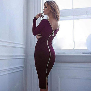 Zip Up Long Sleeve Bodycon Dress-Dresses-Look Love Lust