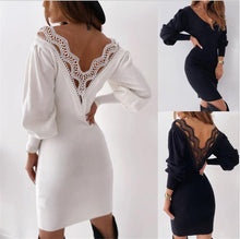 Load image into Gallery viewer, Backless Lace Knitted Mini Bodycon Dress-Dresses-Look Love Lust