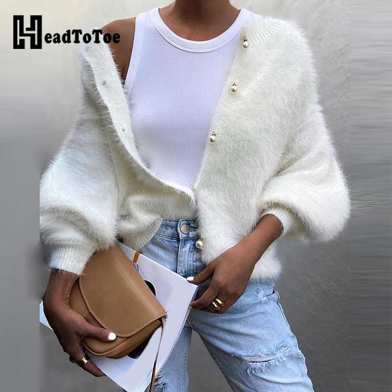 Button Design Fur Sweater-Cardigans-Look Love Lust