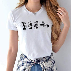 Hand Sign Print Blouse - Blouses -  Look Love Lust