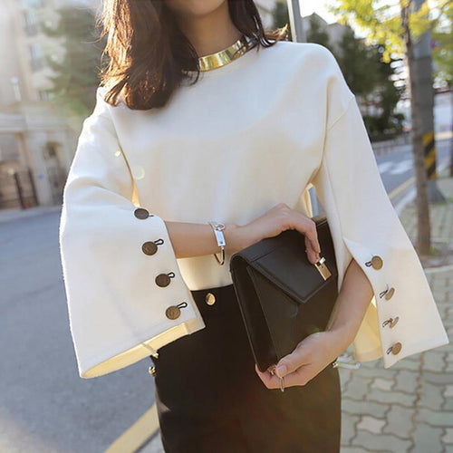 Flare Sleeve Split O-neck Blouse-Blouse-Look Love Lust