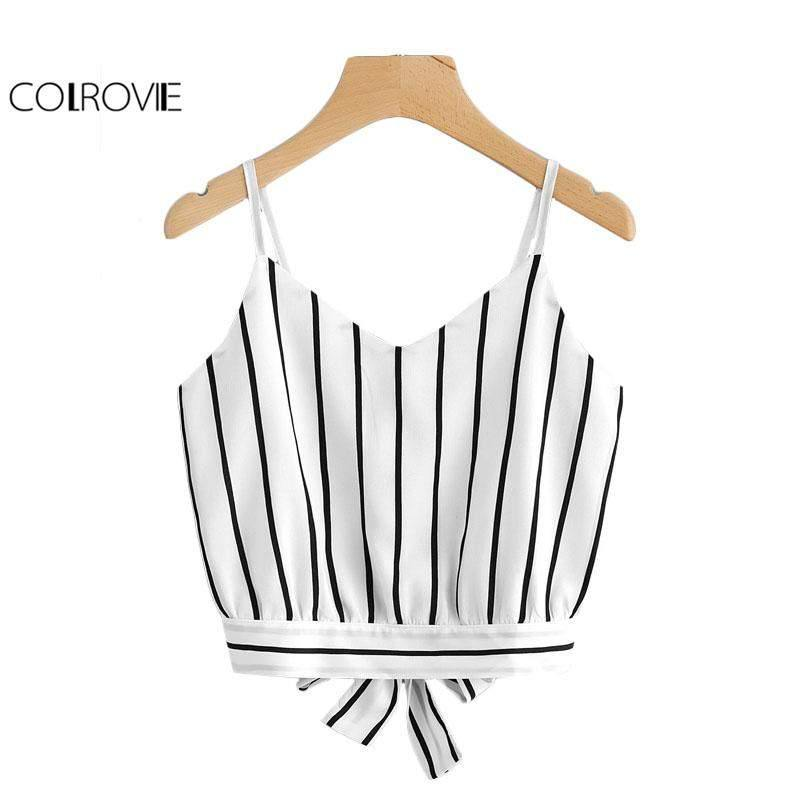 Striped Split Tie Back Crop Cami Top-Blouses-Look Love Lust