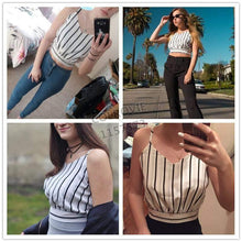 Load image into Gallery viewer, Striped Split Tie Back Crop Cami Top-Blouses-Look Love Lust