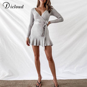V Neck Knitted Ruffle Winter Party Day Dress-Dresses-Look Love Lust