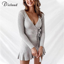 Load image into Gallery viewer, V Neck Knitted Ruffle Winter Party Day Dress-Dresses-Look Love Lust