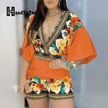 Load image into Gallery viewer, Deep V Neck Floral Half Sleeve Romper-Rompers-Look Love Lust