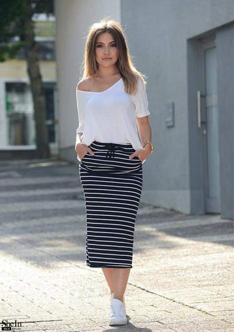 Navy and White Striped Drawstring Pincel Skirt-Look Love Lust
