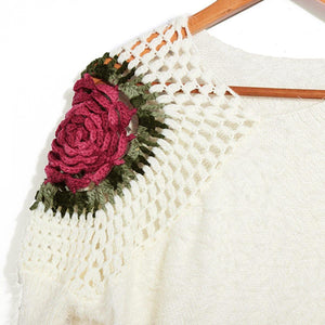Loose V-Neck Long Sleeve Fluffy Pullover Sweater With Knitted Shoulder Rose-Pullovers-Look Love Lust
