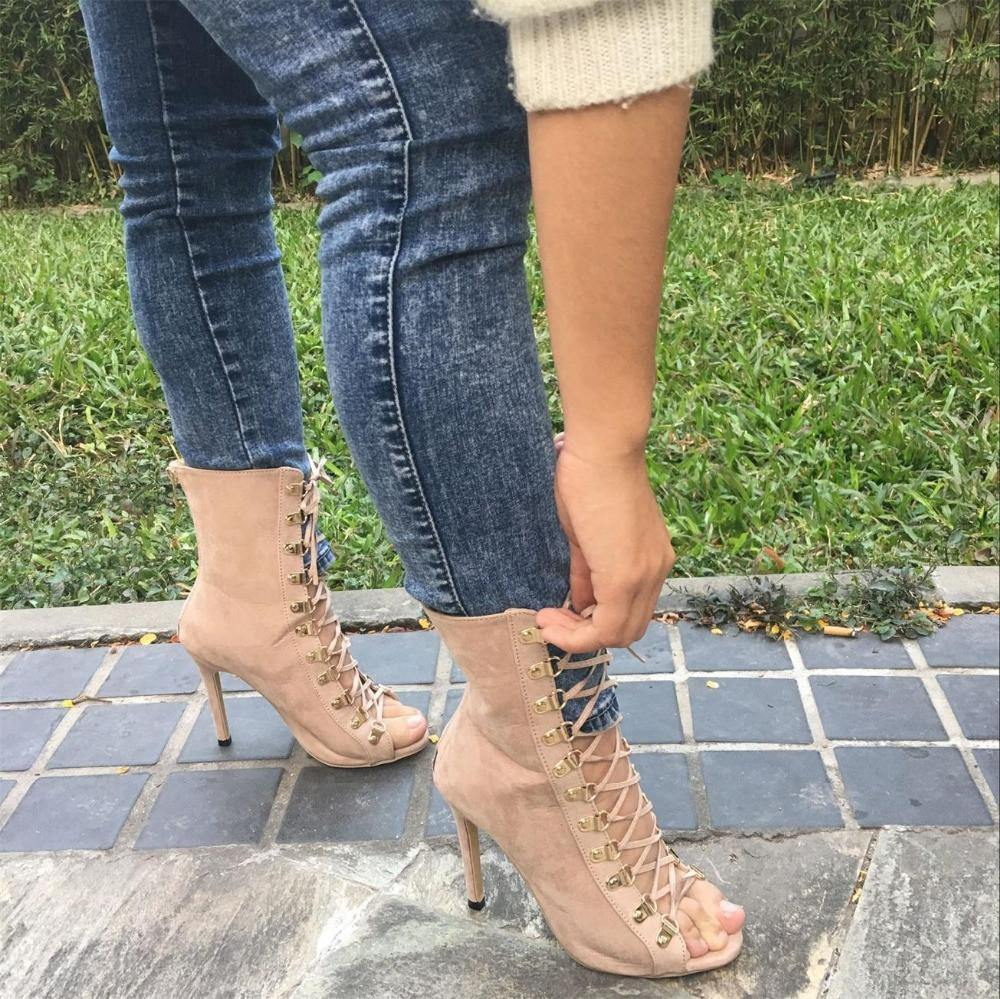 6541e2d5c39 Lace Up High Heel Open Toe Gladiator Boots