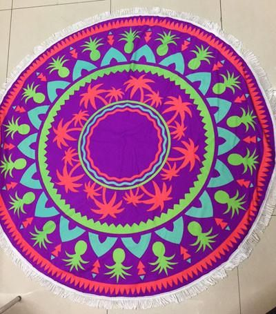 Large Microfiber Printed Round Beach Towels With Tassels-BeachWear-Look Love Lust