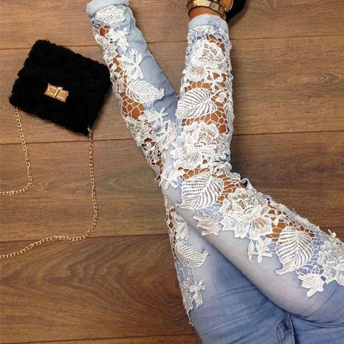 Floral Lace Splice High Waist Jeans - Jeans -  Look Love Lust