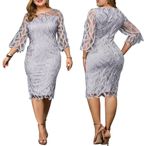 Plus Size Elegant 3/4 Sleeve Gray Overlay Party Dress-200000347-Look Love Lust