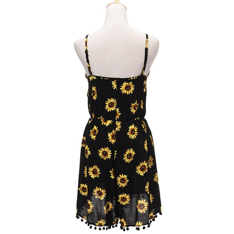 Strappy Sunflower Print Romper With Tassels-Romper-Look Love Lust