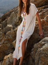 Load image into Gallery viewer, White Embroidery Side Slit Maxi Dress-Look Love Lust
