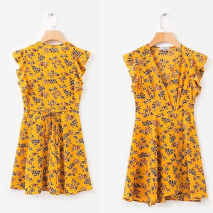 Yellow Sleeveless Summer Dress-Dresses-Look Love Lust