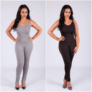 Casual V-Neck Cotton Jumpsuit-Jumpsuits-Look Love Lust