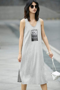 Graphic Print Sleeveless A-Line Dress-Dresses-Look Love Lust