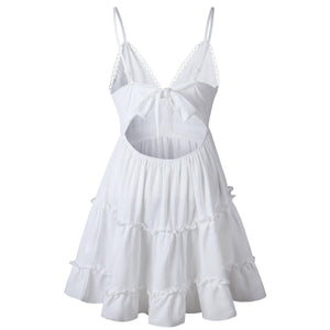 Spaghetti Strap White Casual Mini Sundress-Dresses-Look Love Lust