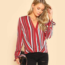 Load image into Gallery viewer, Multicolor V Neckline Striped Blouse-Blouses-Look Love Lust