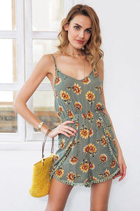 Sunflower Print Spaghetti Strap Romper-Rompers-Look Love Lust