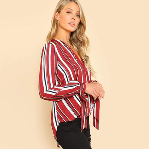 Multicolor V Neckline Striped Blouse-Blouses-Look Love Lust