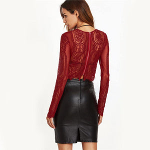 Round Neck Long Sleeve Lace See-through Crop Top-Shirts-Look Love Lust