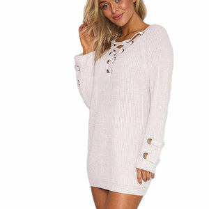 Lace Up V-Neck Pullover Knitted Sweater-Pullovers-Look Love Lust