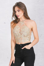 Load image into Gallery viewer, Backless Metallic Lace Halter Crop Top-Camis-Look Love Lust
