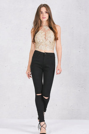 Backless Metallic Lace Halter Crop Top-Camis-Look Love Lust