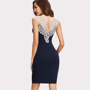 Navy Blue Floral Lace Sleeveless Sheath Dress-Dresses-Look Love Lust