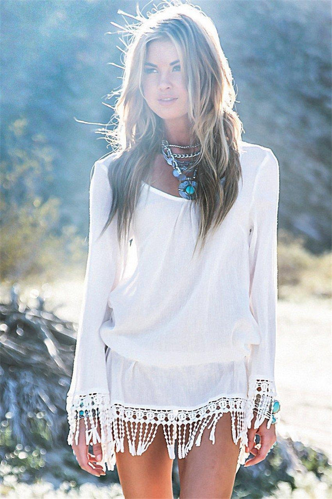 Long Sleeve Fringe Cover-up-Look Love Lust