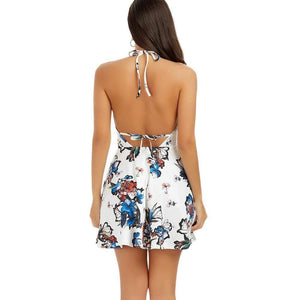 Floral Print Halter Mini Skater Dress-Look Love Lust