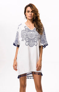 V-Neck White Floral Crochet Tunic Beach Cover Up-Cover-Ups-Look Love Lust