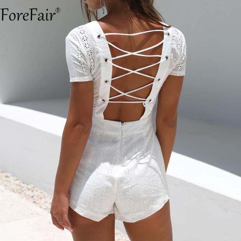 White Lace-Up Short Sleeve Romper-Rompers-Look Love Lust