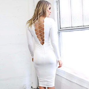 V-Neck Long Sleeve Criss Cross Backless Bodycon Dress-Look Love Lust