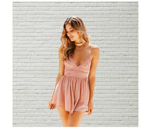 Lace Crochet V Neckline Backless Romper-Rompers-Look Love Lust